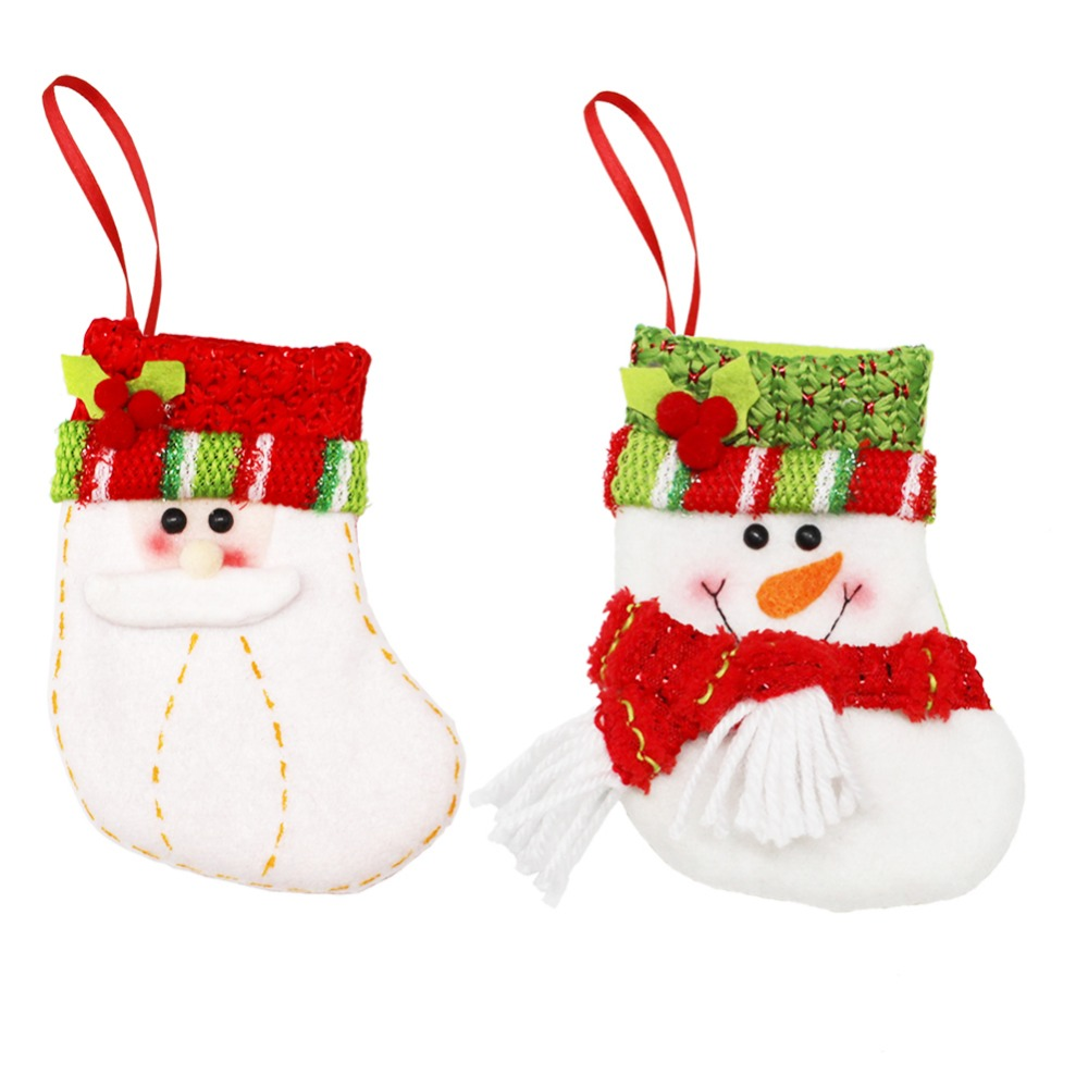 New Year 2017 Christmas Stockings Socks Santa Claus Candy Gift Bag Xmas Tree Decorations