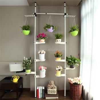 Detachable Vertical Metal Plant Stand White Plants Display Shelf