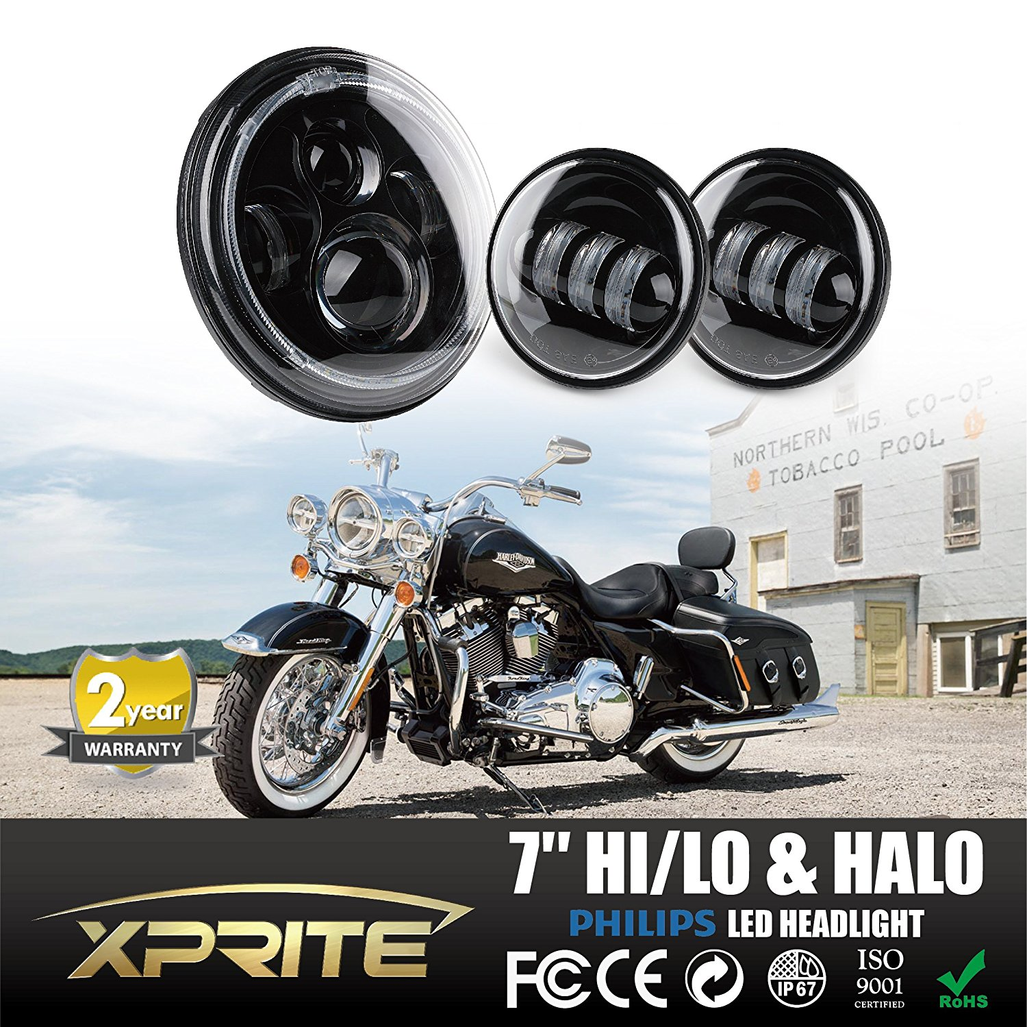 """Xprite 7"""" Inch Round 60W 4800 Lumens Hi/Lo Beam Cree LED Headlights w/ Halo Ring Angel Eyes Crystal DRL & 4.5"""" Inch 60W Black Cree Led Spot Lights 6000k White Passing Projector Fog Lamp"""