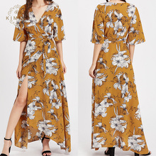 Kimono Sleeves V Neck Wrap Long Maxi Dress Women Yellow Printed Floral Dress