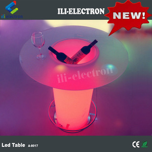 plastic party frosting finishing top glass led cocktail table