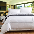 wholesale white egyptian 100% cotton 5 star embroidery queen hotel flat quilt cover bed linen sheet bedding set