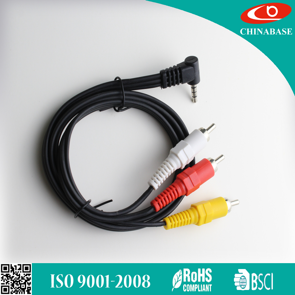 Hot selling High quality 3.5mm to 3rca black av rca cable in China 3.5mm 3 RCA