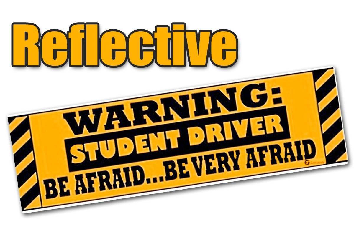 """Zone Tech """"Warning Student Driver"""" Vehicle Bumper Magnet - Premium Quality Reflective """"Warning Student Driver"""" Bumper Safety Sign Magnet"""