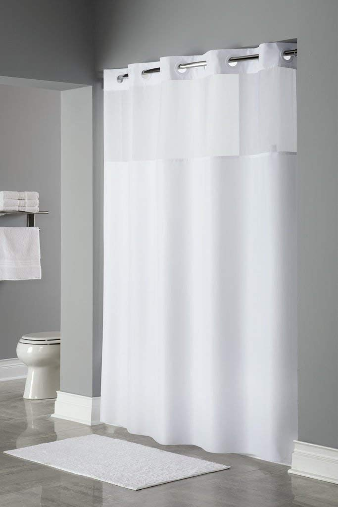 Get Quotations Trendy Linens Hookless Shower Curtain Detachable Liner Its A Snap Hotel Quality Polyester Magnets Sheer