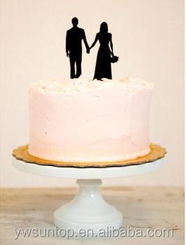 Black Acrylic Bride And Groom Silhouette Wedding Cake Topper - Buy ...