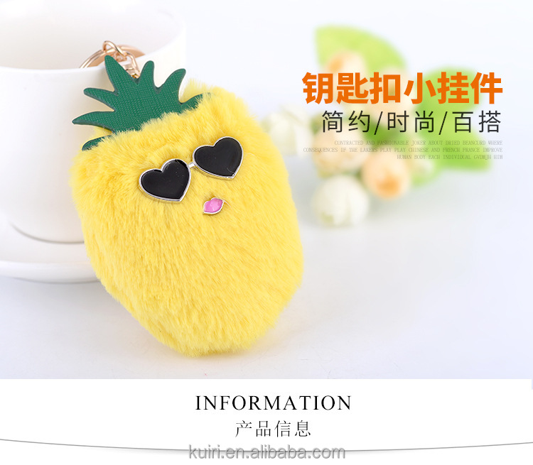 3 Colors Fluffy Fake Rabbit Fur Ball Pompom Glasses Pineapple Car Keychain For Women Handbag Key Ring Keyholder fmq-33