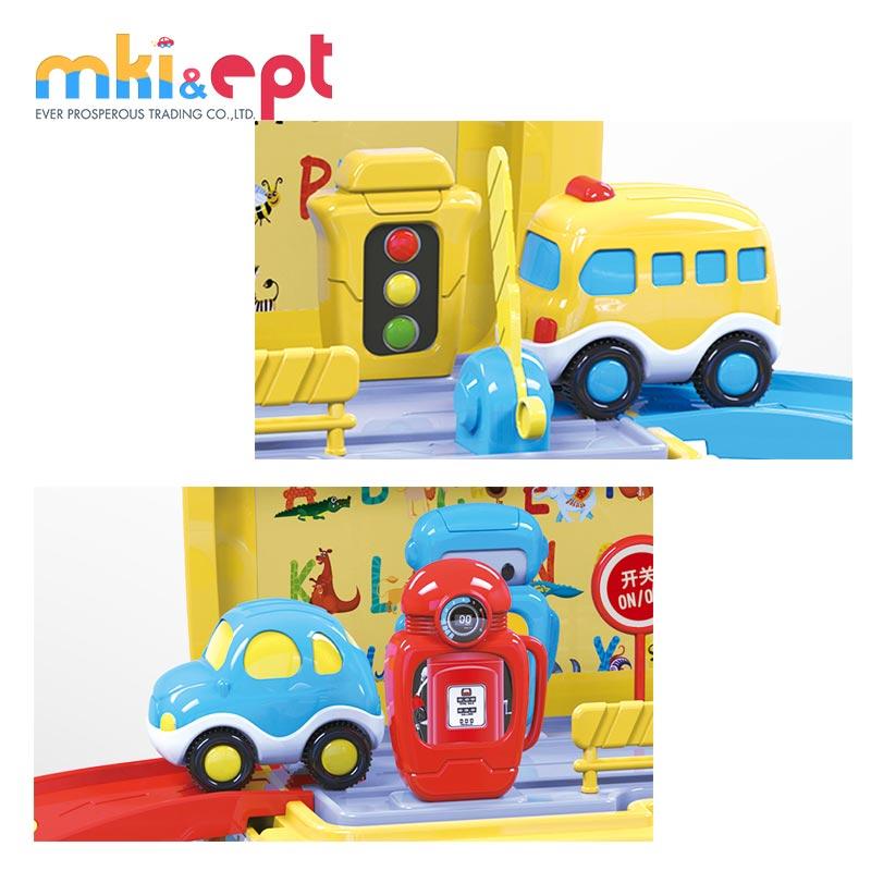 B/O funny cartoon car toy plastic school bus toys with railway car and light music