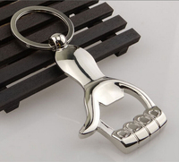 free shipping oem zinc alloy thumb/ palm bottle opener Keychain for promotional