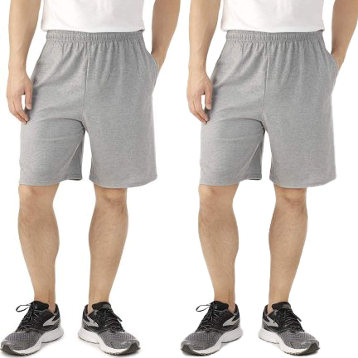 f9e95085e45 Get Quotations · Fruit of the Loom 2 Pack Tagless Mens Shorts with Pockets  9 inch Inseam Athletic Cotton