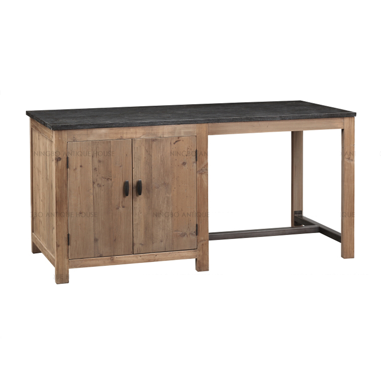 Antique Rustic French Industrial Vintage Recycled Wood With Blue Stone Top  Kitchen Island Wood Vintage Industrial