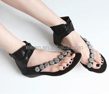 65ed82ecc2e3 Latest diamante simple flat sandals for ladies pictures