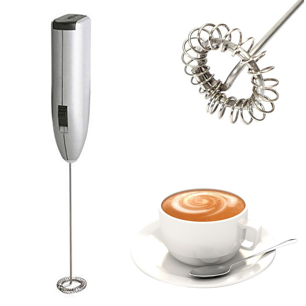Handhled Milk Frother, Annbully Stainless steel Electric Mini Coffee Latte Hot Chocolate Maker Drink Mixer Whisk Rotation Whipped Creamer Egg Beater Espresso Machine(Silver)
