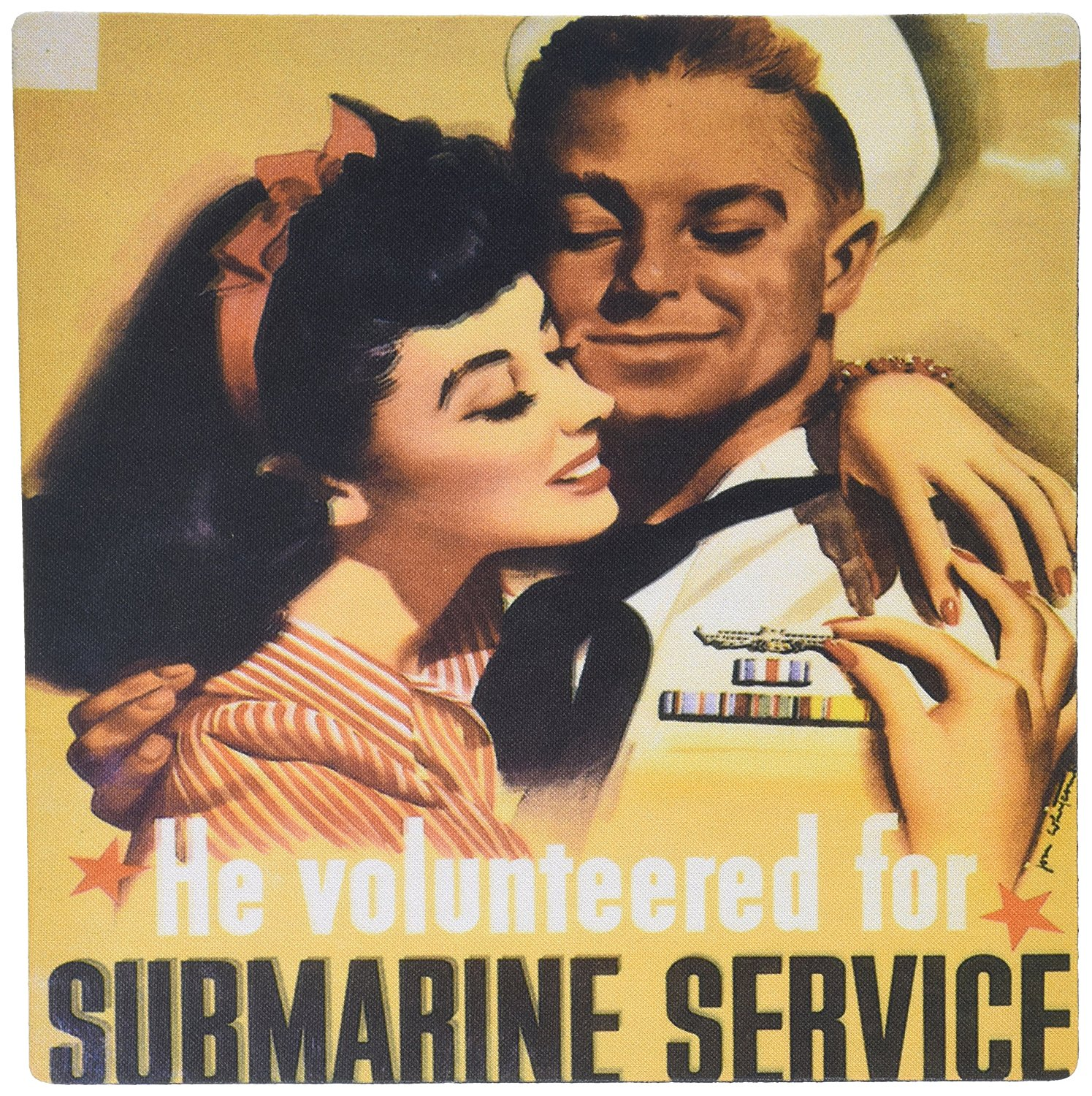 3dRose LLC 8 x 8 x 0.25 Inches Mouse Pad, Vintage He Volunteered for Submarine Service Poster (mp_149417_1)