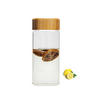 500ml single wall custom glass water bottles with wooden lid/bamboo cap