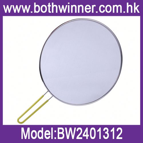 Splatter screen guard with folding soft silicone handle h0tSY stainless steel mesh strainer with long handle for sale