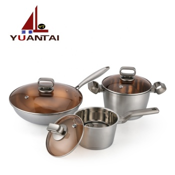 Mail orders Promotion gift 3pcs Kitchen Accessories Stainless Steel Cookware Set / Cooking Pot / Stock Pot Set