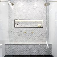 Polished white marble mosaic fan shaped decorative bathroom wall tiles