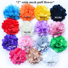Adorable 2'' Satin Mesh flower for hair/garment accessory