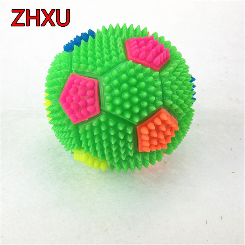 Free shipping 1pcs10 cm mini football luminous football Baby squeaky toy