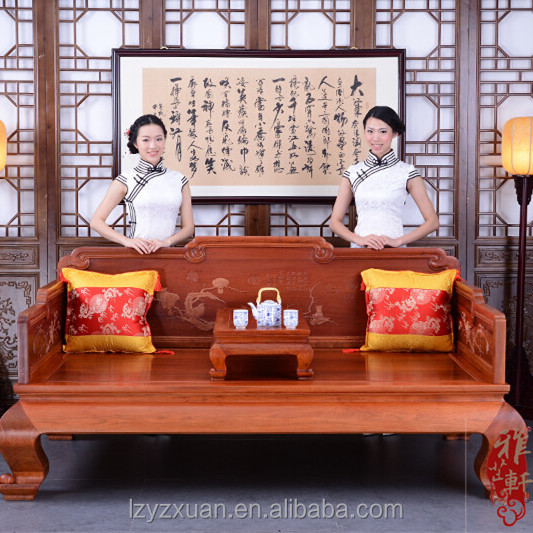 2017 New design Chinese Style Burma rosewood wooden frame corner sofa on sale