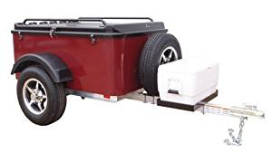 Hybrid Trailer Co. Vacationer with Spare Tire and Cooler Tray - Enclosed Cargo Trailer, 990 lbs. Gross, 30 cu/ft. - Black Cherry