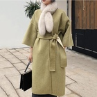 Ladies elegant women wool coat 90% wool fancy color belted jacket drop shoulder removable fox fur scarf loose winter coats