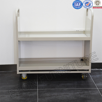 Heavy Duty Book Cart Steel Office Trolley