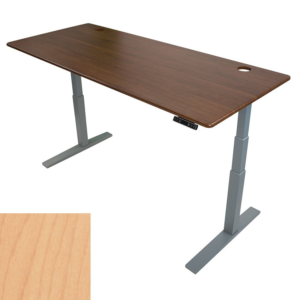 """ThermoDesk UPTOWN SLIM Adjustable Height Standing Desk - Most Customizable Sit Stand and/or Walk Desk - 3 Programmable Presets - Silver Base ( Light Maple Top, 30"""" x 71"""" x 0.75"""" )"""
