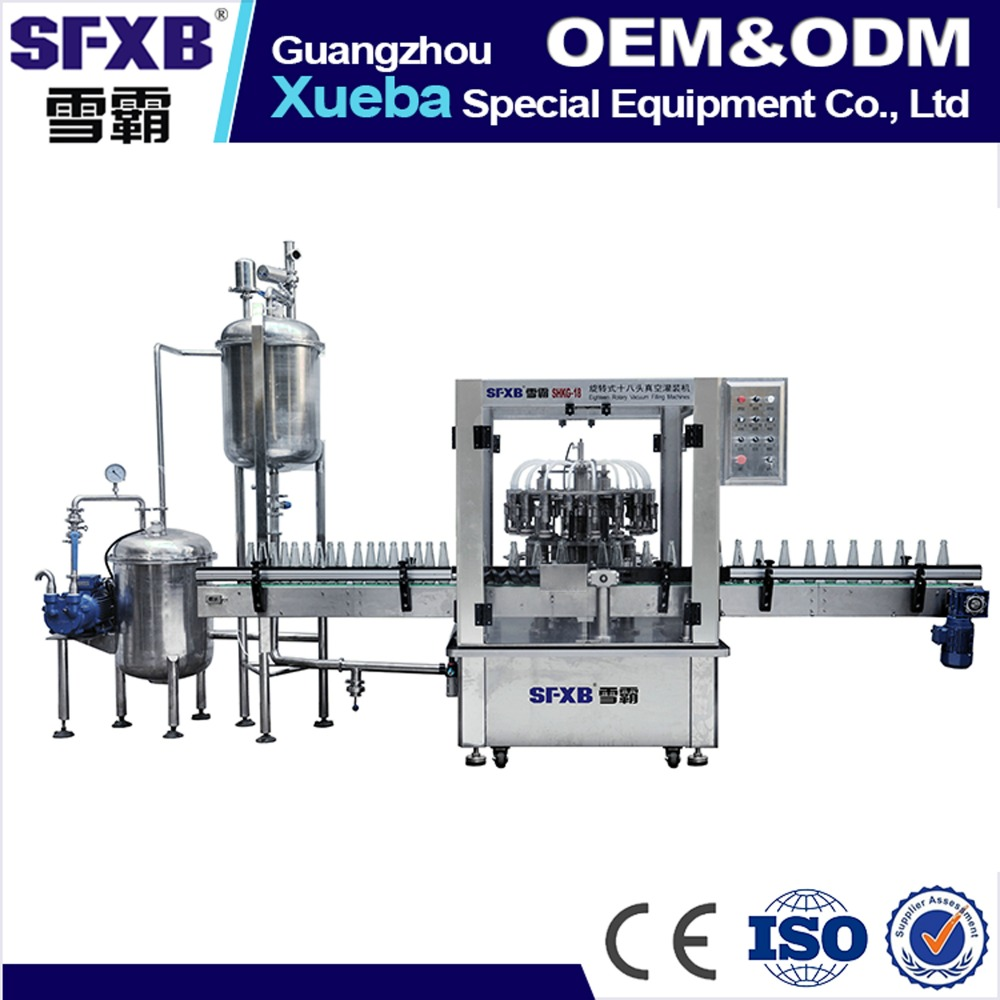 Automatic 18-head vacuum driven rotary type filling machine, juice packaging machine
