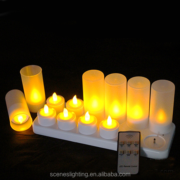 12 pcs wedding decoration plastic ABS outdoor led memorial birthday candle set for cemetery church with cover