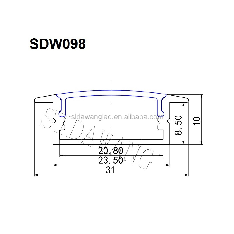 50set ,2M Surfaced mounted recessed Aluminum led strip profile for under cabinet light SDW098