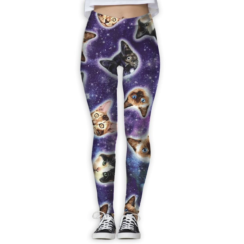 c5517914d0b597 Get Quotations · Girls Popular Galaxy Cats Heads In Space Galaxy Flex Yoga Leggings  Pants Workout Capri