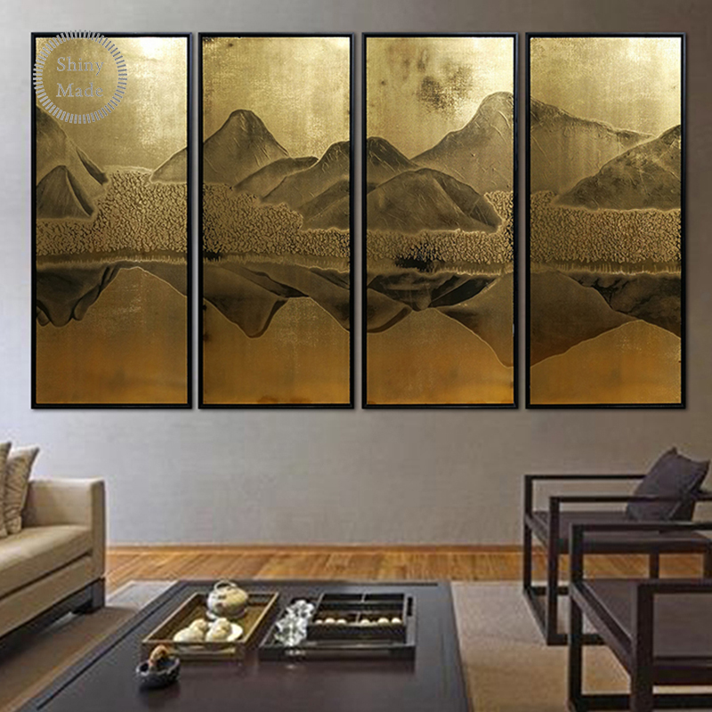 hot sale handmade home goods scenery hill mountain <strong>pictures</strong> abstract printed stainless steel metal wall art chinese painting