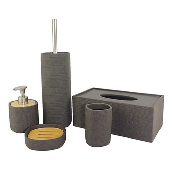 Stoneware Cement Whole White Resin Bathroom Accessories Set With Modern Design