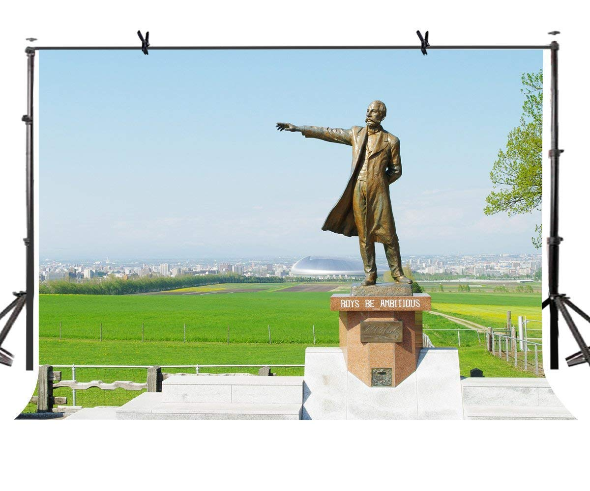 ERTIANANG 7x5ft Famous Statue Backdrop Dr. William Clark Famous Statue Photography Background and Studio Photography Backdrop Props