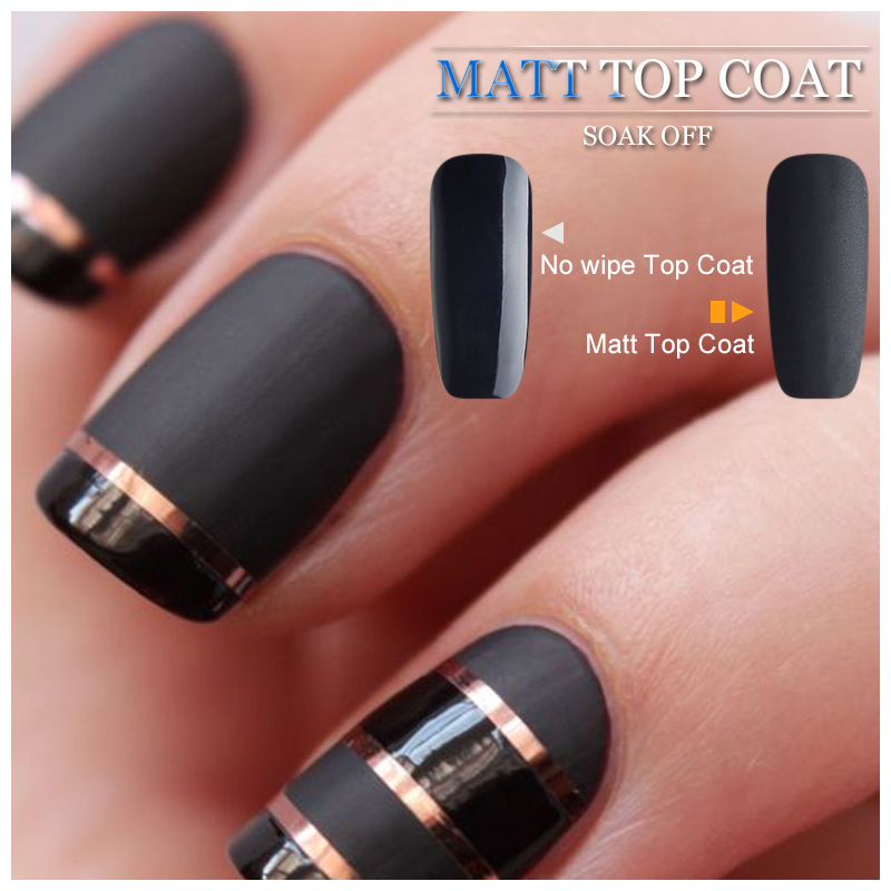Vrenmol Clear Matte Top Coat Black Color Gel Polish Nail Art Set To Make Up Nail Gel Need Base Coat For Dull Finish