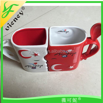 Ceramic Factory Ceramic Love Mugs With The Spoon Wholesales