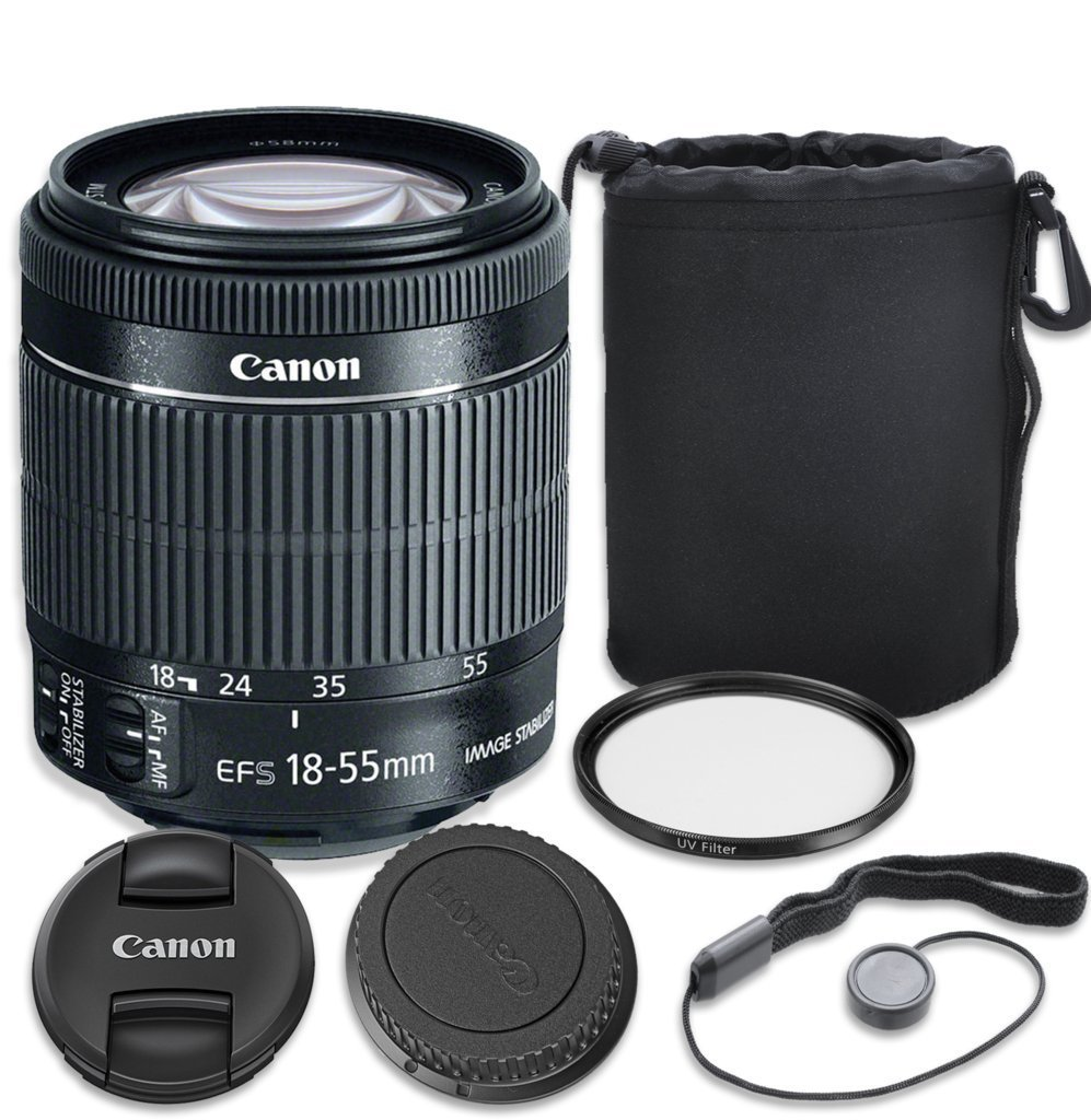 Canon EF-S 18–55mm f/3.5–5.6 IS STM Lens with Complete 3PC Accessory Kit - International Version (No Warranty)