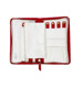 Red Expandable Leather Travel Jewelry Organizer with Full Zip Closure