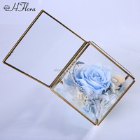Luxury Preserved Rose Flower with Clear Geometric Glass Box