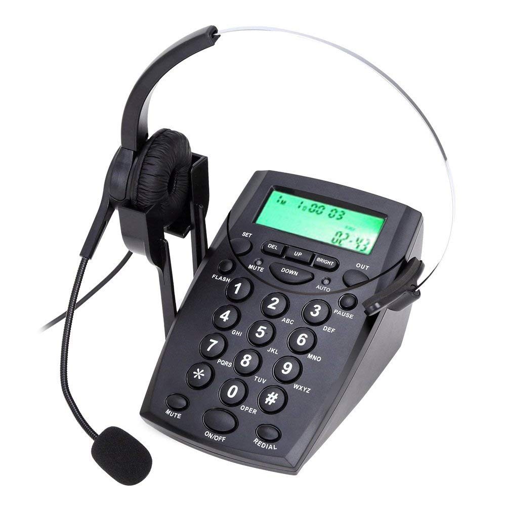 Docooler HT500 Headset Telephone Desk Phone Headphones Headset Hands-free Call Center Noise Cancellation Monaural with Backlight