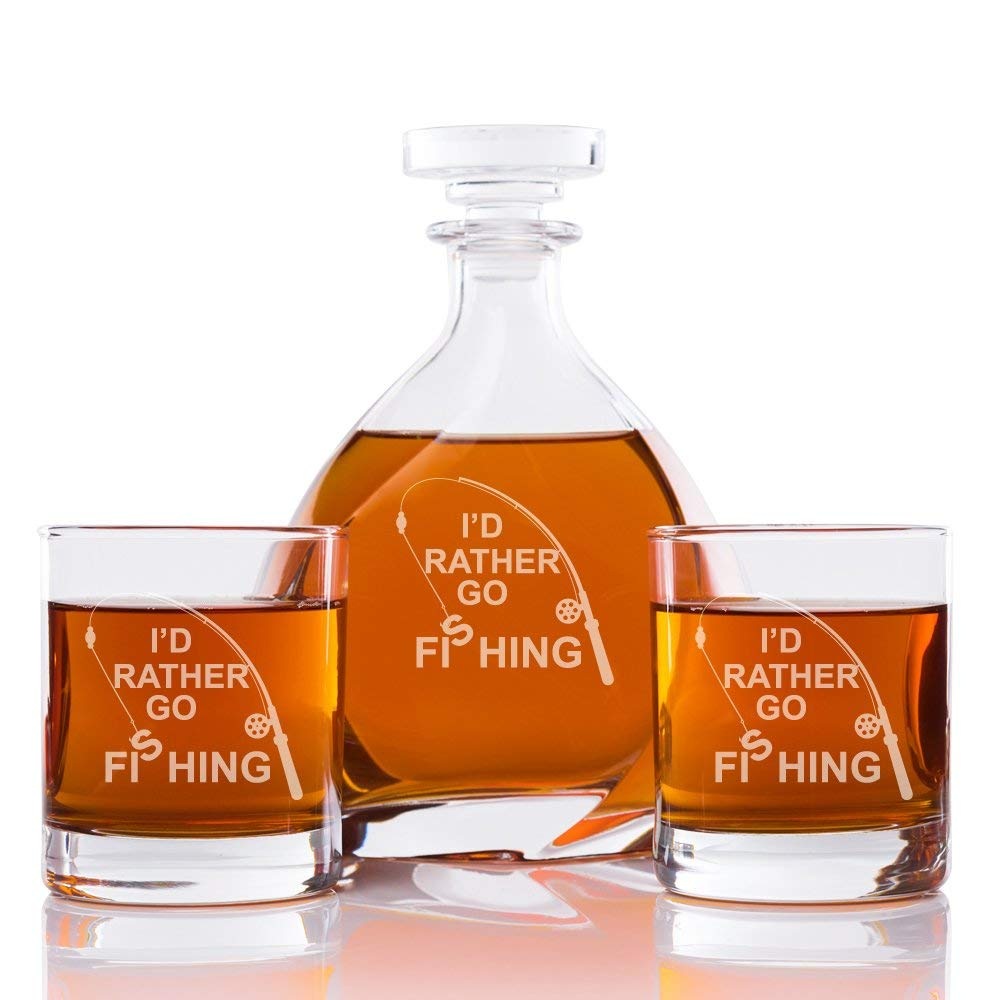 I'd Rather Go Fishing Engraved Madison Glass Decanter and Rocks Glasses (Set of 3)