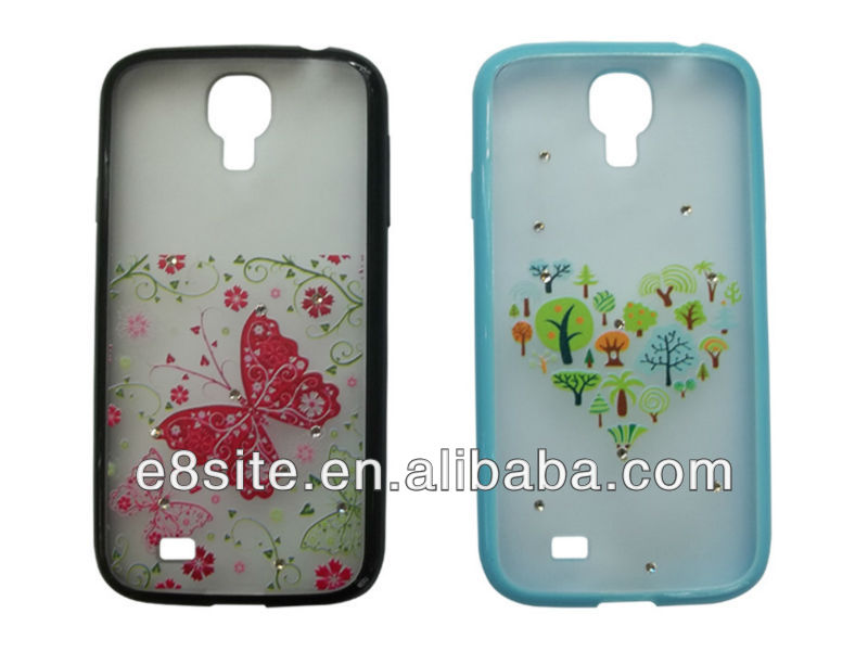 Galaxy S4 i9500 Printed TPU+PC Frame Case--With Blings