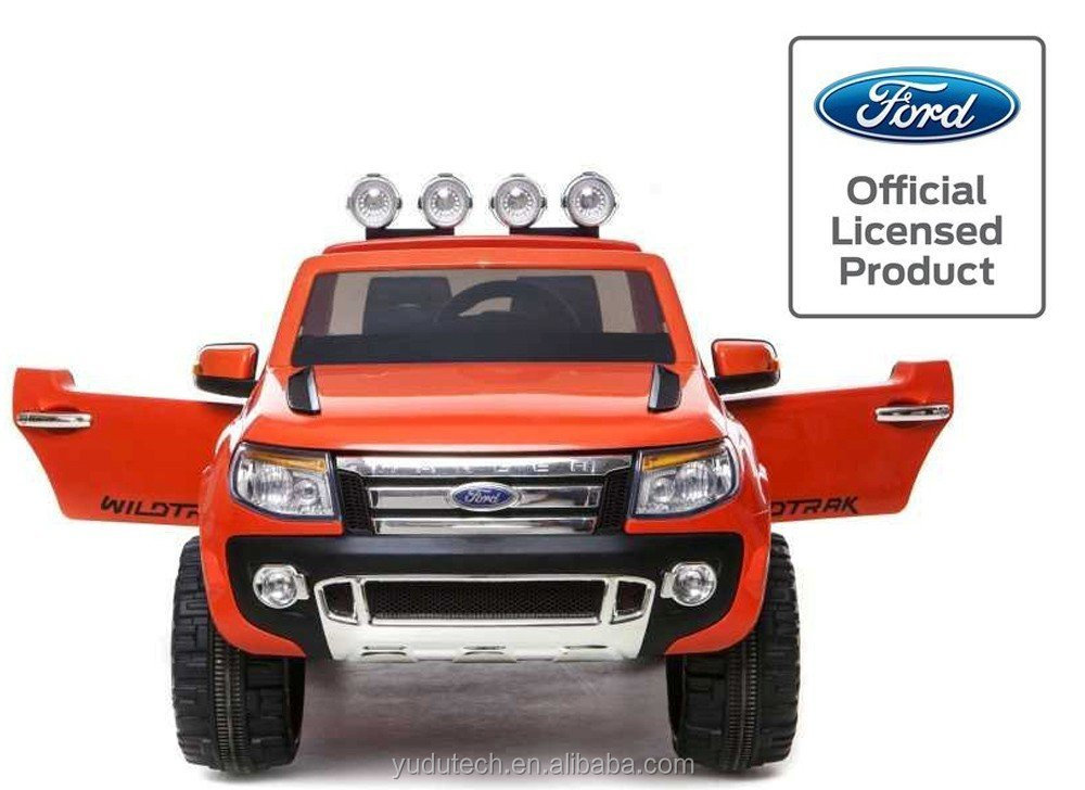 Duplay Ford Ranger Licensed 12v Electric Ride On Jeep with Upgraded Twin Motor, MP3 Plug-In and Parental Remote Control (Orange)