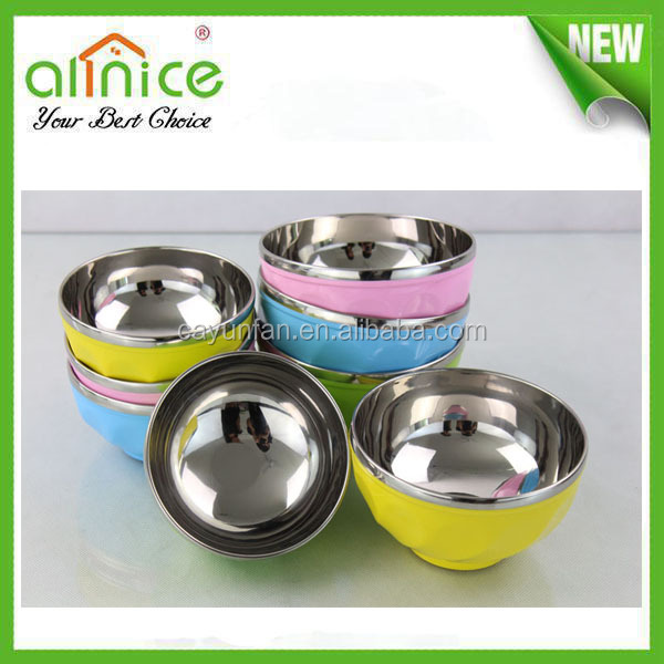 Deluxe Colorful stainless steel and plastic soup bowl / mixing bowl / fruit bowl set