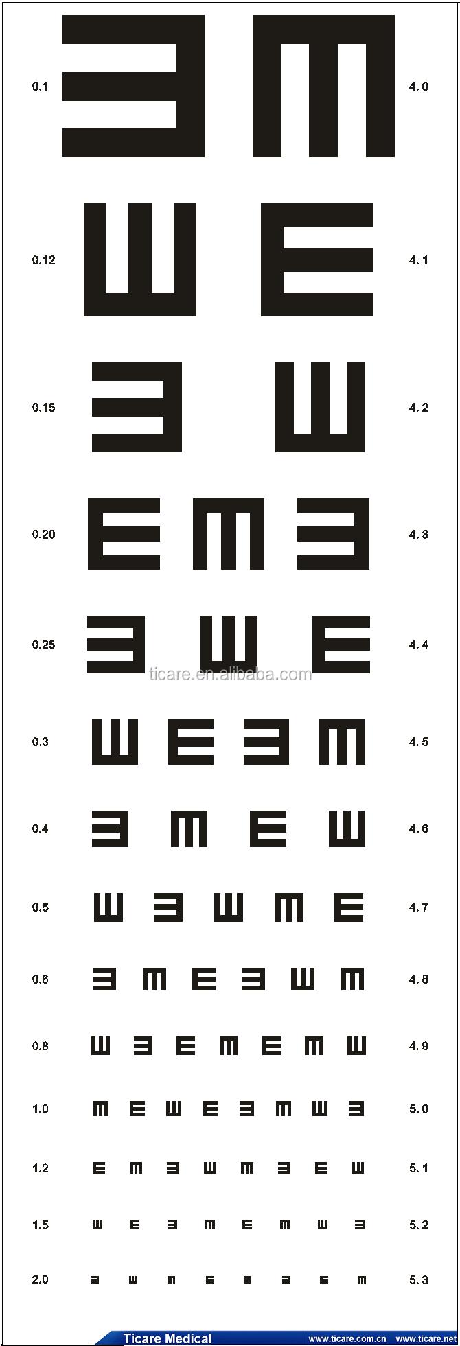 TC1233-2 Reusable PVC universal eye test chart-Ticarehealth