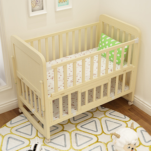 Baby up and down bed with healthy paint splicing wood baby crib