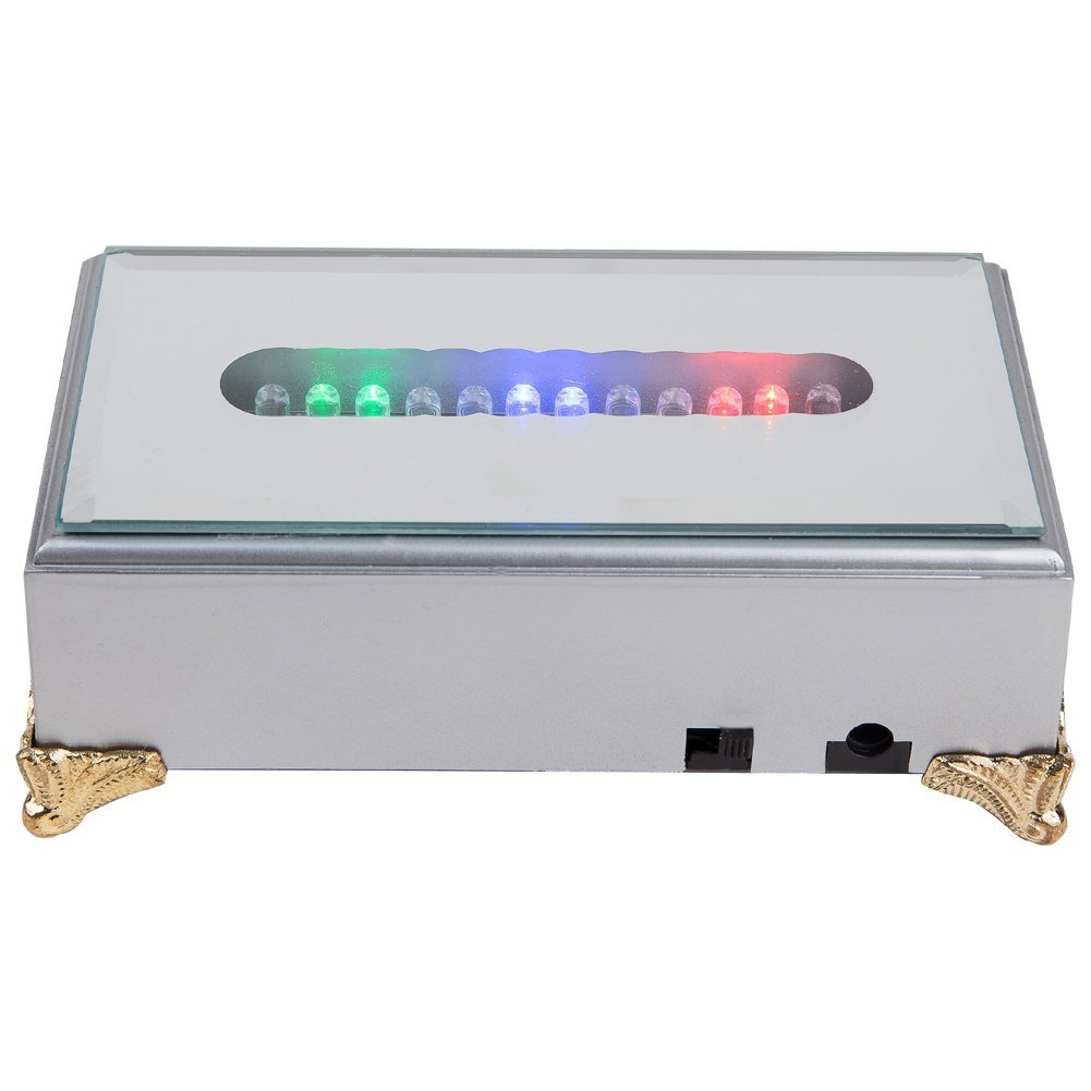 IFOLAINA Plastic LED Light Base Rectangle Alternative Multicolor Stand for Laser Engraving Crystal Display Silver