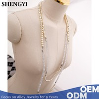Chinese wholesale companies multiple layered pearl custom rhinestone designs long necklace jewelry,sweater necklace